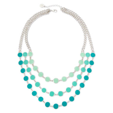 jcpenney.com | Liz Claiborne® Blue Bead Silver-Tone 3-Row Statement Necklace