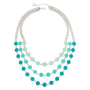 Liz Claiborne® Blue Bead Silver-Tone 3-Row Statement Necklace