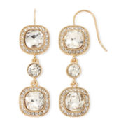 Monet® Crystal Gold-Tone Linear Drop Earrings