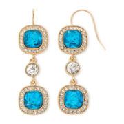 Monet® Blue Stone Gold-Tone Linear Drop Earrings