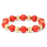 Monet® Orange and Gold-Tone Stone Stretch Bracelet