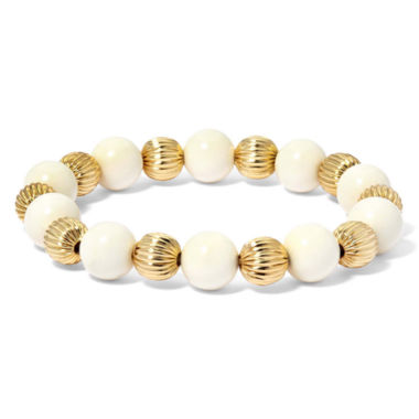 jcpenney.com | Monet® White and Gold-Tone Stone Stretch Bracelet