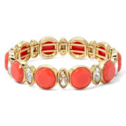 Monet® Orange Stone and Crystal Gold-Tone Stretch Bracelet