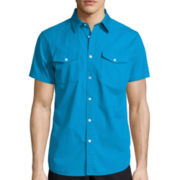 JF J. Ferrar® Short-Sleeve Slim Fit Button-Front Shirt
