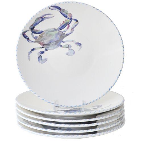 Abbiamo Tutto Blue Crab Set of 6 Ceramic Dinner Plates