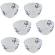 Abbiamo Tutto Blue Crab Set of 6 Ceramic Bowls