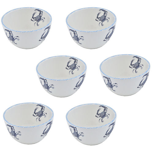 Abbiamo Tutto Blue Crab Set of 6 Ceramic Bowls