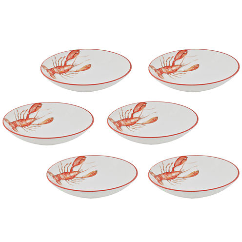 Abbiamo Tutto Lobster Set of 6 Ceramic Soup Bowls
