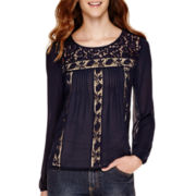 Rewind Long-Sleeve Lace-Front Woven Top