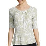 Liz Claiborne® Elbow-Sleeve Peplum Knit Top