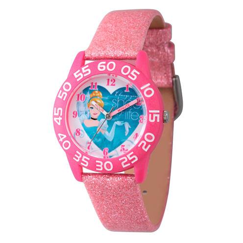 Disney Cinderella Girls Pink Strap Watch-W003261