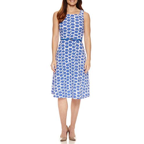 R & K Originals Sleeveless Dots Fit & Flare Dress