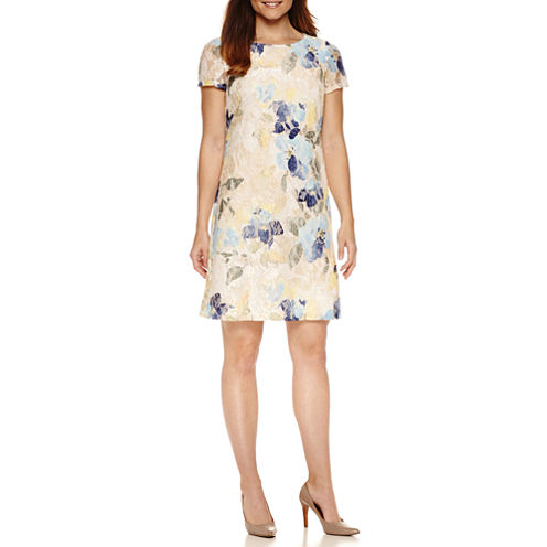 Perceptions Short Sleeve Floral Shift Dress
