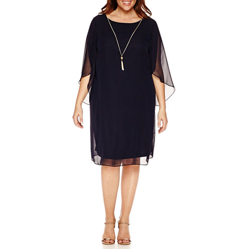 Msk Elbow Sleeve Sheath Dress with Necklace-Plus