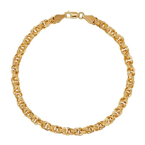 Womens 7 1/4 Inch 14K Gold Link Bracelet