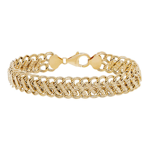 Made In Italy Womens 7 1/2 Inch 14K Gold Link Bracelet