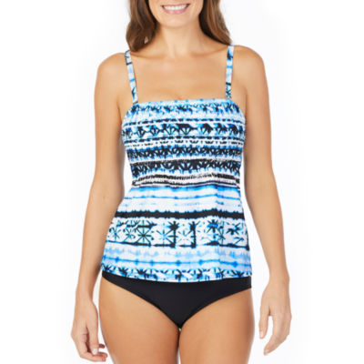 St. John's Bay Moroccan Sun Smocked Tankini Swimsuit Top