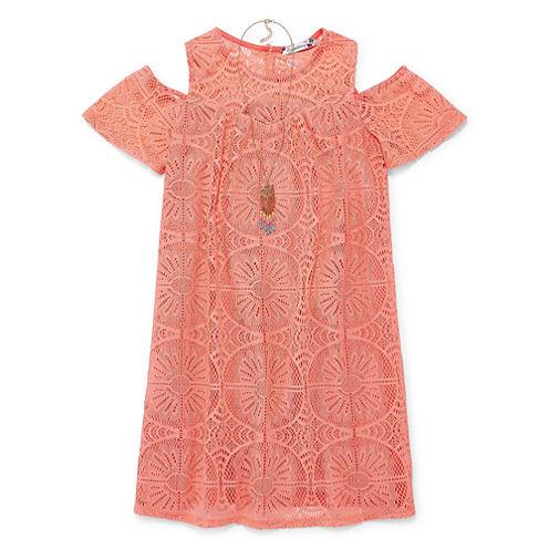 Speechless Short Sleeve Cold Shoulder Sleeve Dress Set - Big Kid Girls
