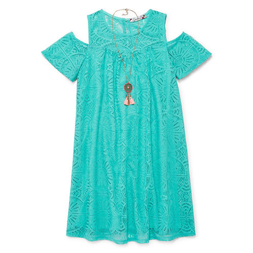 Speechless Short Sleeve Cold Shoulder Sleeve Shift Dress - Big Kid Girls Plus