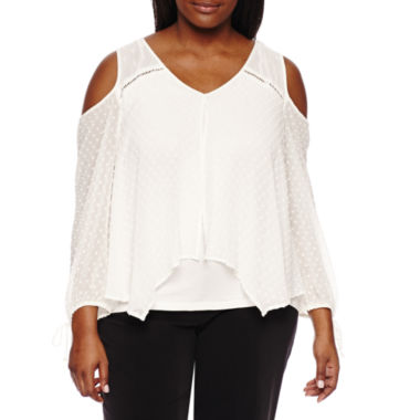 jcpenney.com | by&by Long Sleeve V Neck Woven Blouse-Juniors Plus