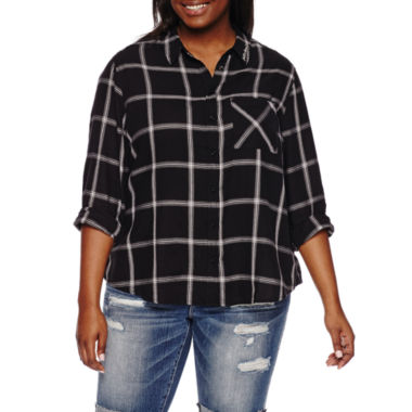 jcpenney.com | Arizona Long-Sleeve Boyfriend Plaid Shirt - Juniors Plus