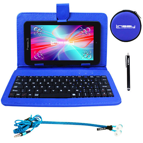 """LINSAY® 7"""" QUAD CORE 1280x800 IPS Screen 8GB DUAL CAM Tablet Super Bundle with Blue Leather Keyboard Case, Earphones and Stylus Pen"""