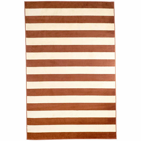 Cambridge Home Dark Amber Stripe Rectangular Rugs