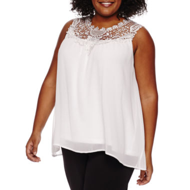 jcpenney.com | Worthington® Sleeveless Lace Yoke Swing Tank - Plus