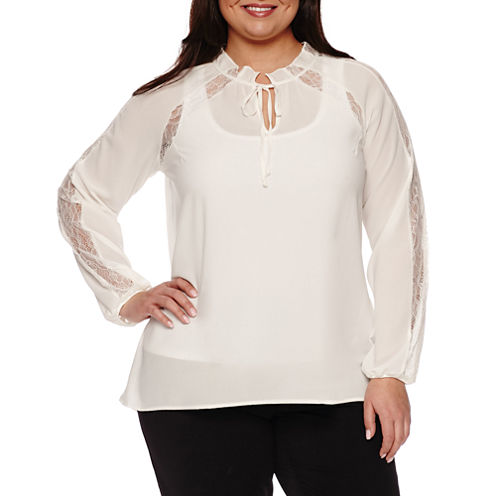 Worthington® Long Sleeve Keyhole Woven Blouse - Plus