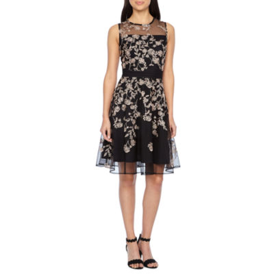 J Taylor Sleeveless Floral Fit Amp Flare Dress Jcpenney