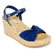 Arizona Nicole Girls Crochet Wedge Sandals - Little Kids/Big Kids