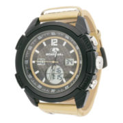 Mossy Oak® Mens Beige Camouflage Leather Strap Sport Watch