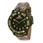 Mossy Oak® Mens Olive Bezel Camouflage Leather Strap Sport Watch