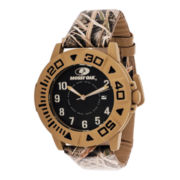 Mossy Oak® Mens Beige Bezel Camouflage Leather Strap Automatic Sport Watch