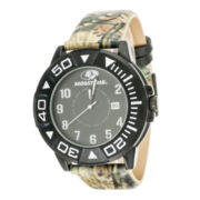 Mossy Oak® Mens Black Bezel Camouflage Leather Strap Sport Watch
