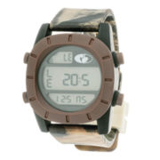 Mossy Oak® Mens Brown Bezel Camouflage Silicone Strap Automatic Sport Watch
