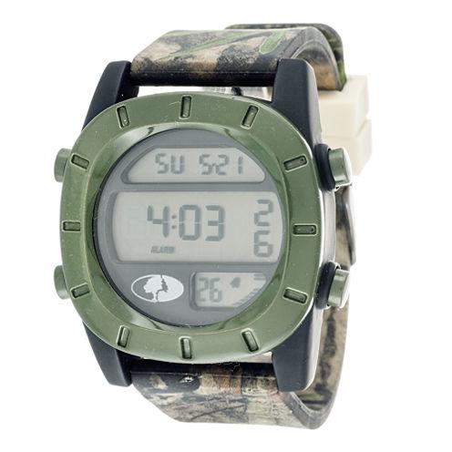 Mossy Oak® Mens Olive Bezel Camouflage Silicone Strap Sport Watch
