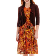 Danny & Nicole® 3/4-Sleeve Floral Print Jacket Dress