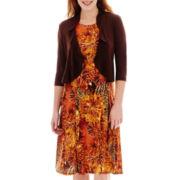Danny & Nicole® 3/4-Sleeve Floral Print Jacket Dress