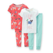 Carter's® 4-pc. Pug Pajama Set – Girls 2t-5t