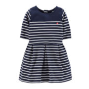 Carter's® Elbow-Sleeve Striped Dress - Girls 4-6x