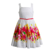 Emily West® Sleeveless Floral-Print Belted Dress – Girls 7-16