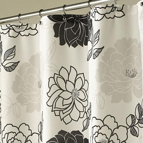 Summer Garden Black & White Shower Curtain