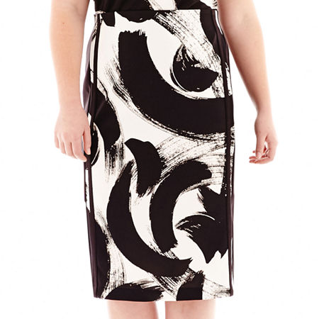 Worthington Double-Tux High-Waist Pencil Skirt - Plus