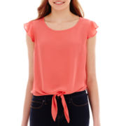 Self Esteem® Cap-Sleeve Tie-Front Top