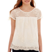 Lily Star Short-Sleeve Scalloped Lace Top