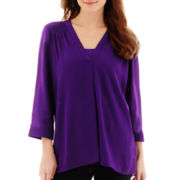 a.n.a® 3/4-Sleeve Smocked Shoulder Blouse
