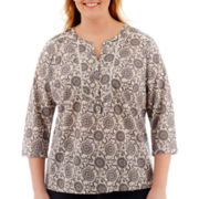 St. John's Bay® 3/4-Sleeve Print Peasant Top - Plus