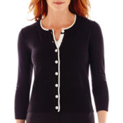 Liz Claiborne® 3/4-Sleeve Cardigan Sweater