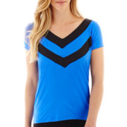 Worthington® Short-Sleeve Colorblock V-Neck Top